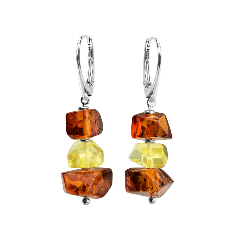 Flirty Mixed Colors of Baltic Amber Sterling Silver Earrings
