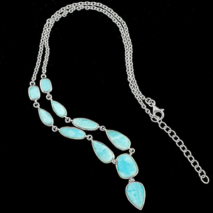 Gorgeous Caribbean Larimar Sterling Silver Statement Necklace