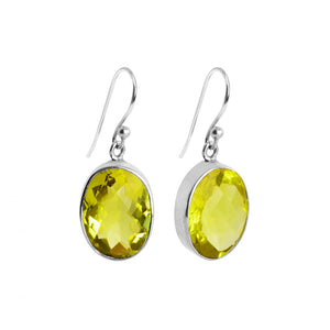 Faceted Lemon Quartz Sterling Silver Earrings