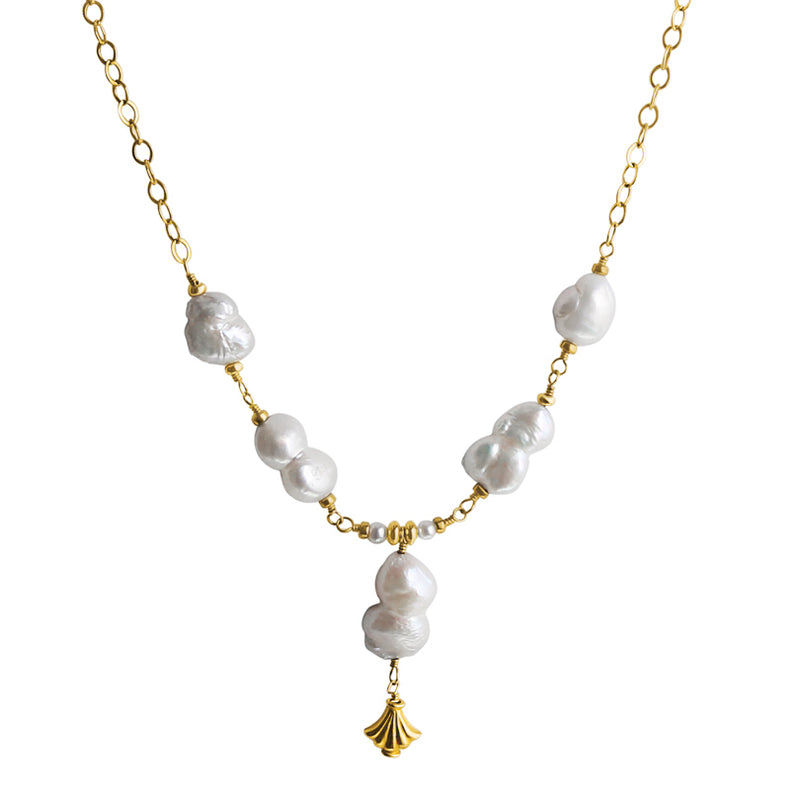 Flirty Natural Fresh Water Pearl Gold Filled Necklace