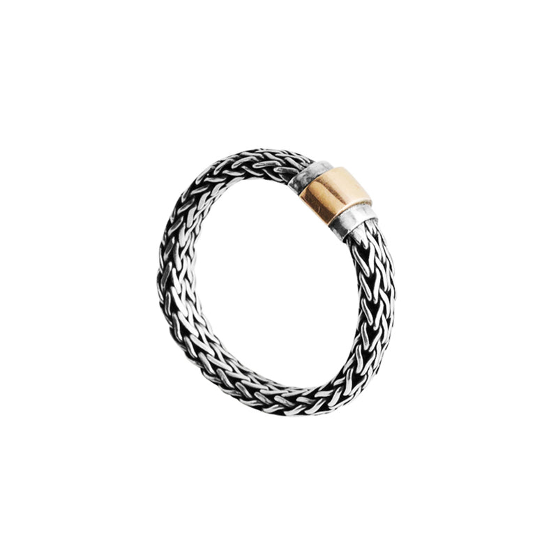 Sterling Silver deGruchy Bali Weave Ring with 9kt Gold Sheeting