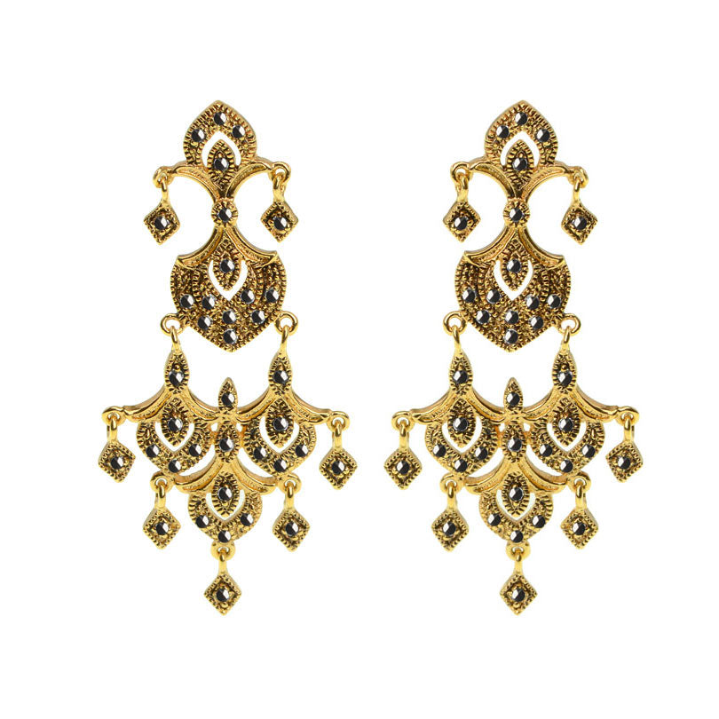 Antiqued Finish Golden Dynasty Marcasite Earrings