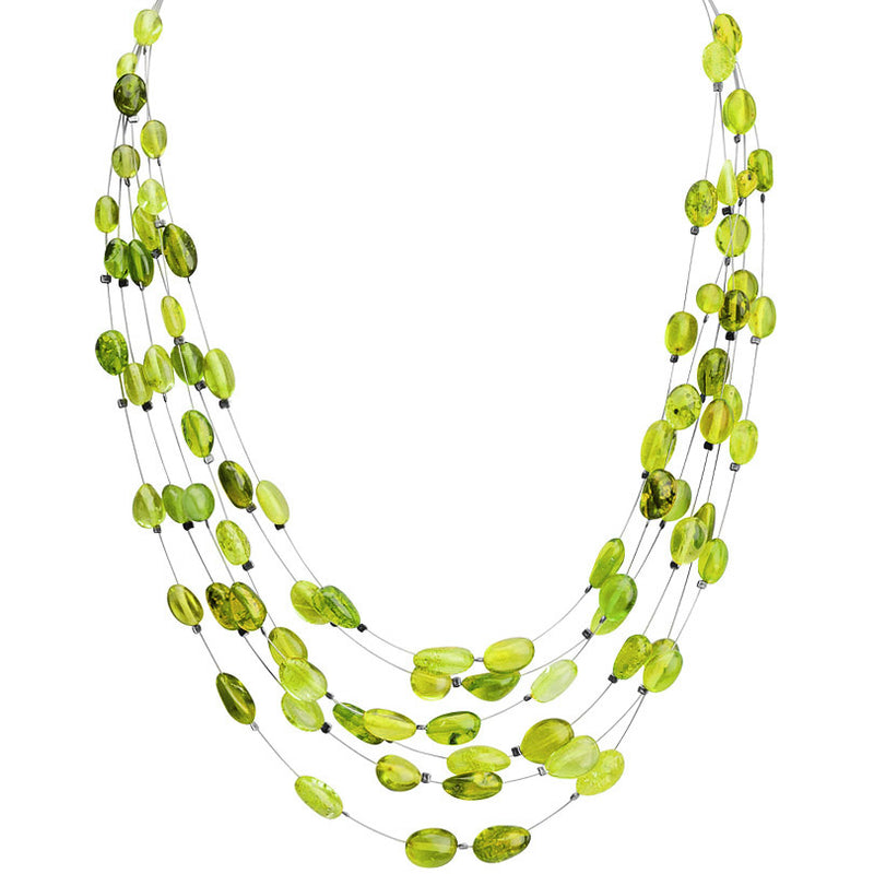 Beautiful Dominican Green Amber 6 Layered Floating Amber Necklace