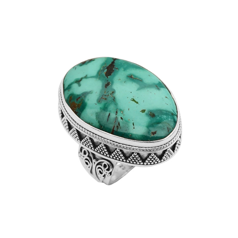 Magnificent Large Genuine Turquoise Stone Sterling Silver Ring