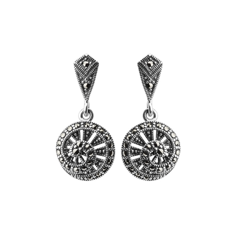 Dynamic Spiral Marcasite Sterling Silver Earrings