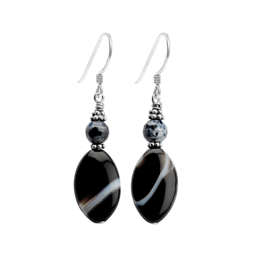 "Lovely Black Onyx Also Called ""Banded Agate"" Sterling Silver Earrings"
