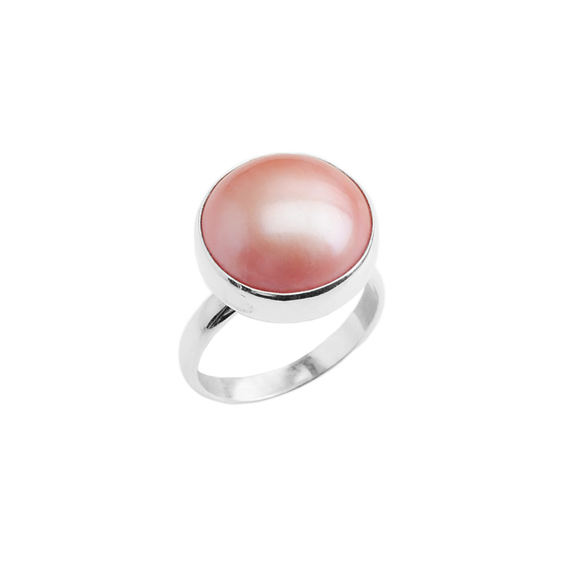 Lustrous Pink Mabe Pearl Sterling Silver Ring
