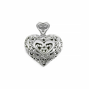 Gorgeous Balinese Filigree Design Sterling Silver Heart Pendant