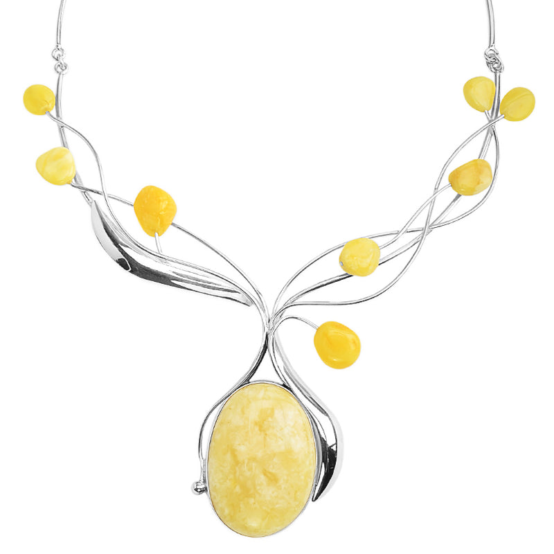 Polish Designer Butterscotch Baltic Amber Sterling Silver Necklace