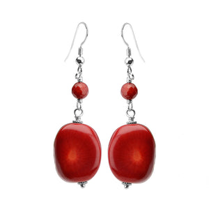 Chunky Large Coral Stone Sterling Silver Earrings