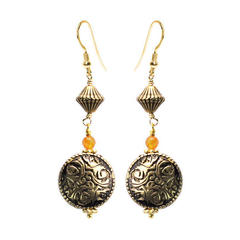 Unique Vintage Style Earrings With Gold Filled Hooks