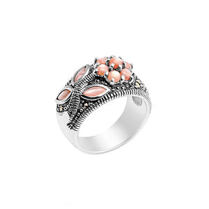 Beautiful Pink Mother of Pearl Flower Marcasite Sterling Silver Ring