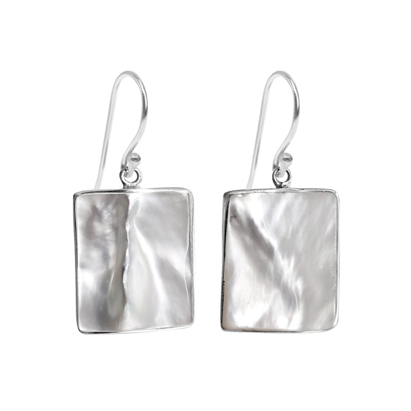 Dreamy White Mother of Pearl Shell Sterling Silver Earrings