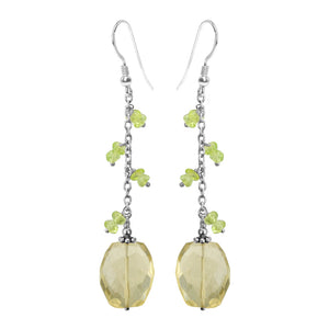 A Sparkling Vine of Lemon Quartz Drops With Peridot Leaves Sterling Silver Earrings