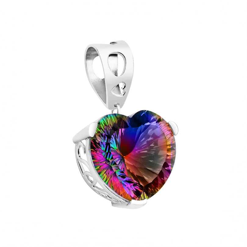 Gorgeous Large Faceted Mystic Quartz Sterling Silver Heart Statement Pendant