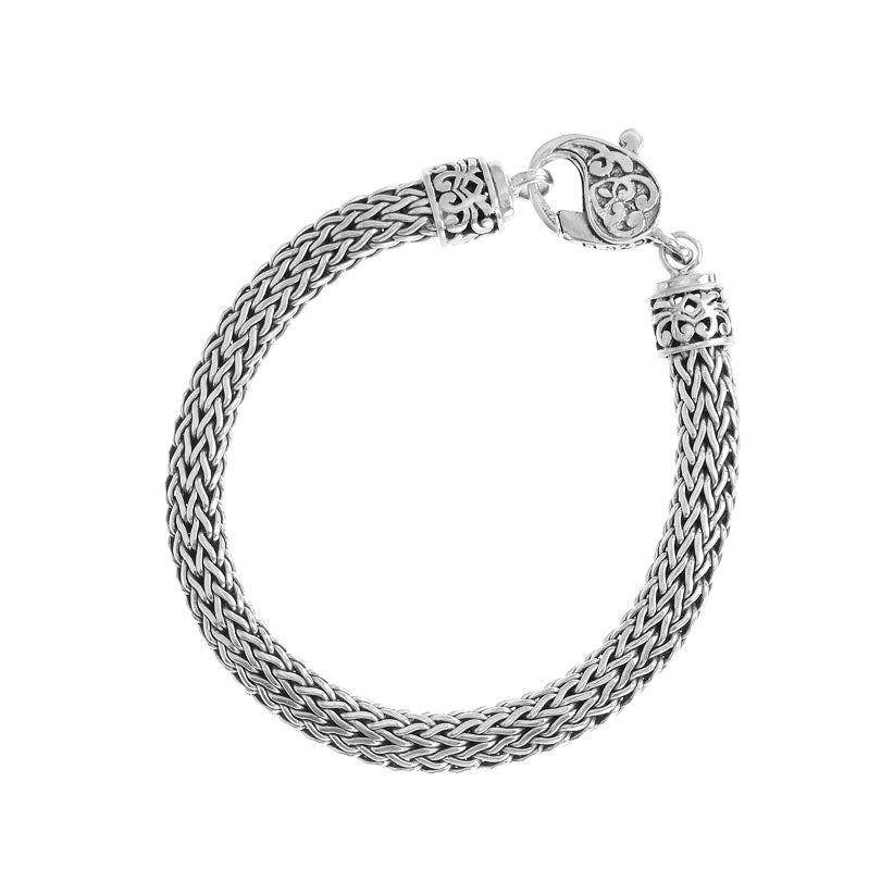 Sterling Silver 8mm Bali Weave Bracelet with Filigree Lobster Clasp