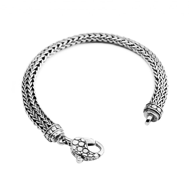 Sterling Silver 8mm Bali Weave w/ Dotted Lobster Clasp