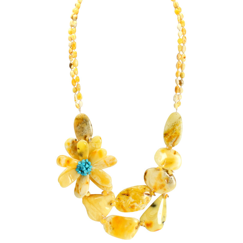 Wow! Butterscotch & White Amber and Turquoise Flower Statement Necklace