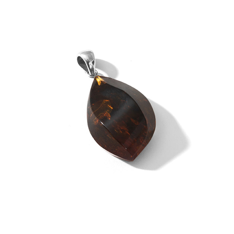 Deep Rich Cognac Baltic Amber Wave Cut Sterling Silver Statement Pendant