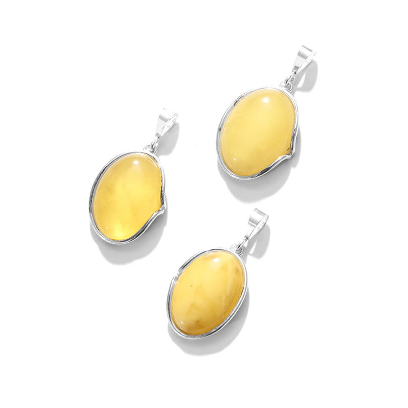 Sunshine Yellow Butterscotch Baltic Amber Sterling Silver Statement Pendant