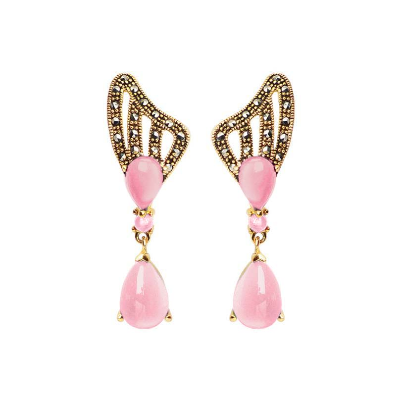 Elegant Pink Mother of Pearl Marcasite Gold Plated Statement Earrings