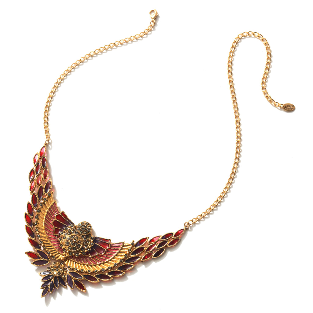Rise Up on Wings! Marcasite Gold Plated Statement Necklace