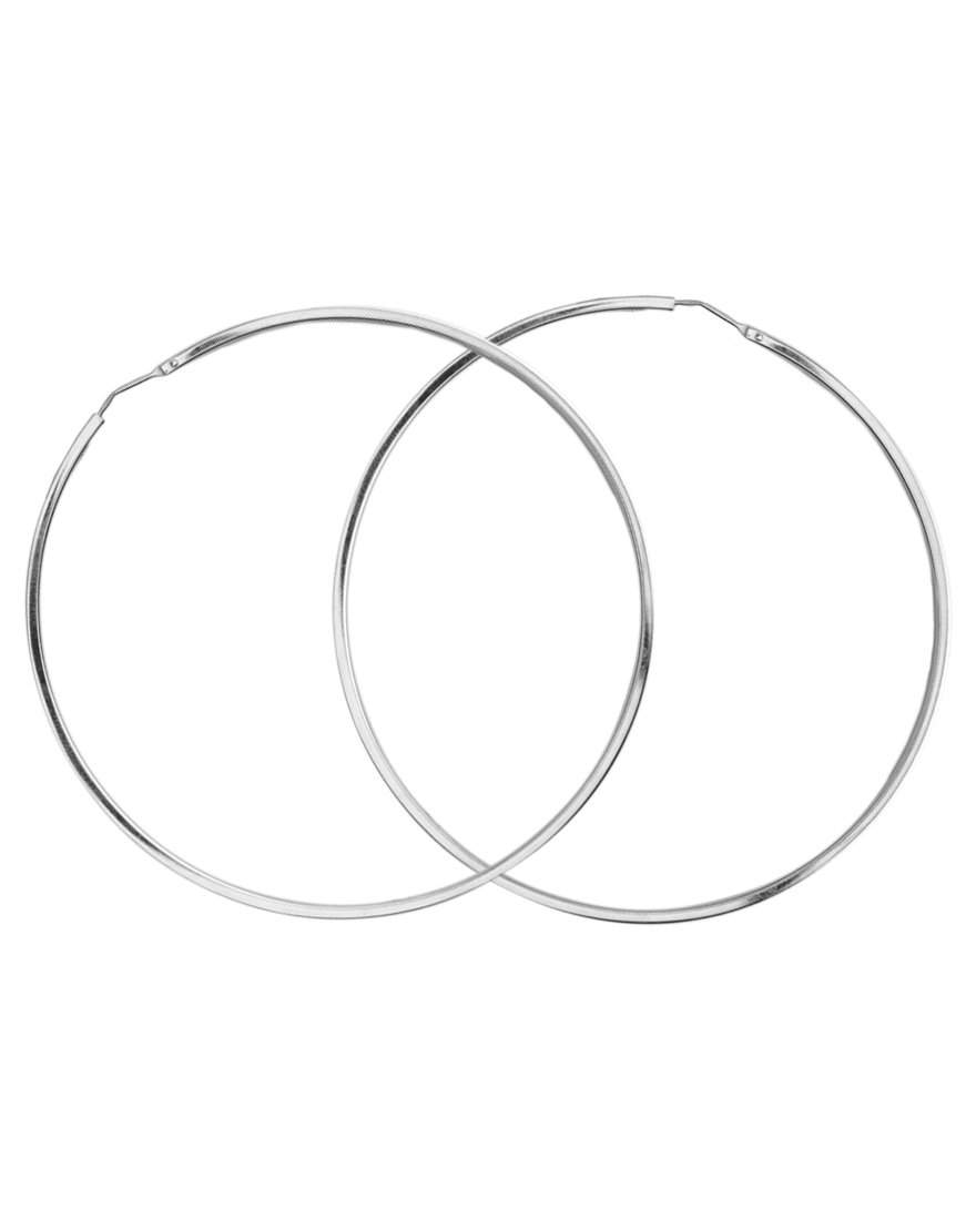 Italian Sterling Silver Hoops with a Soft Squared Edge 2""