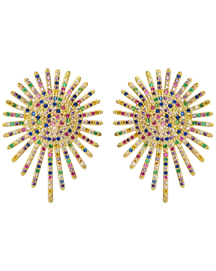 Glamorous Rainbow Pave Crystal Gold Plated Sterling Silver Statement Earrings