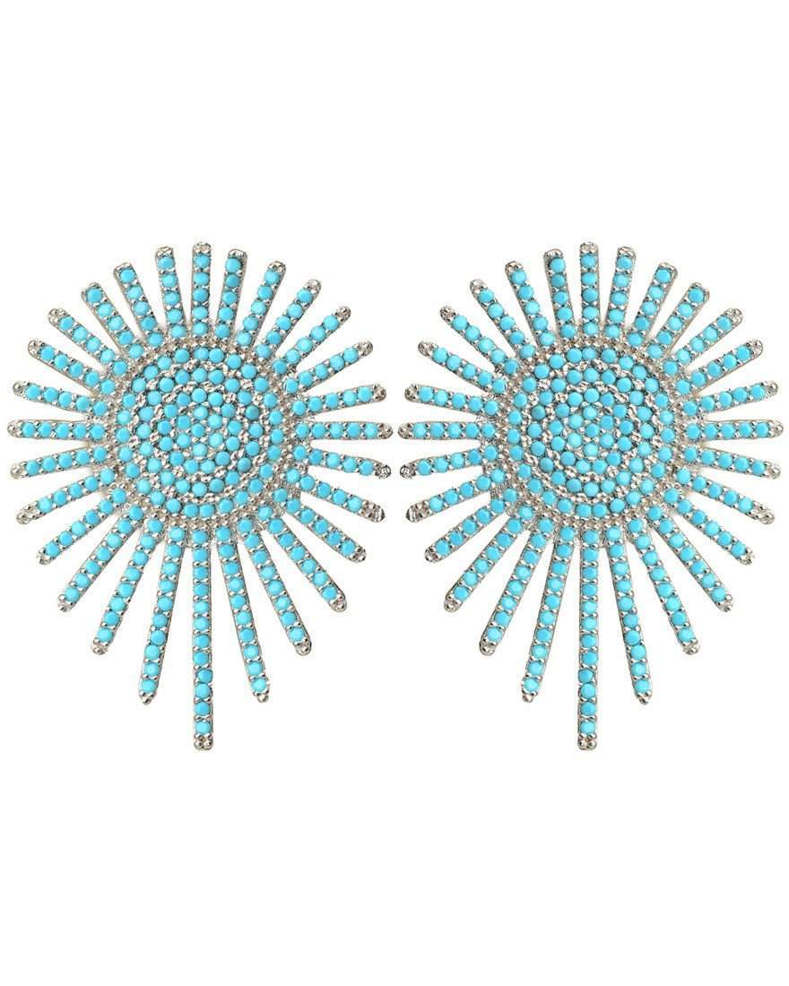 Starburst Turquoise Pave Crystals and Sterling Silver Earrings
