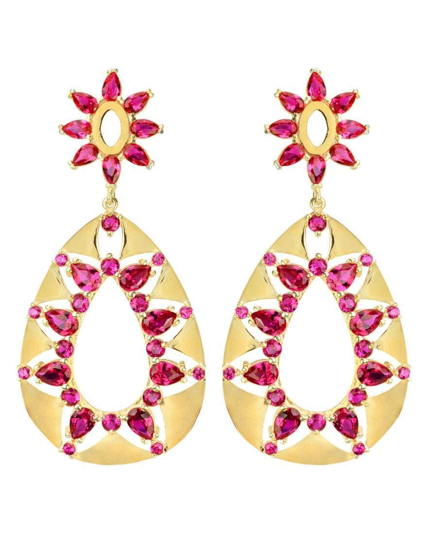 Ruby CZ Gold Plated Statement Earrings