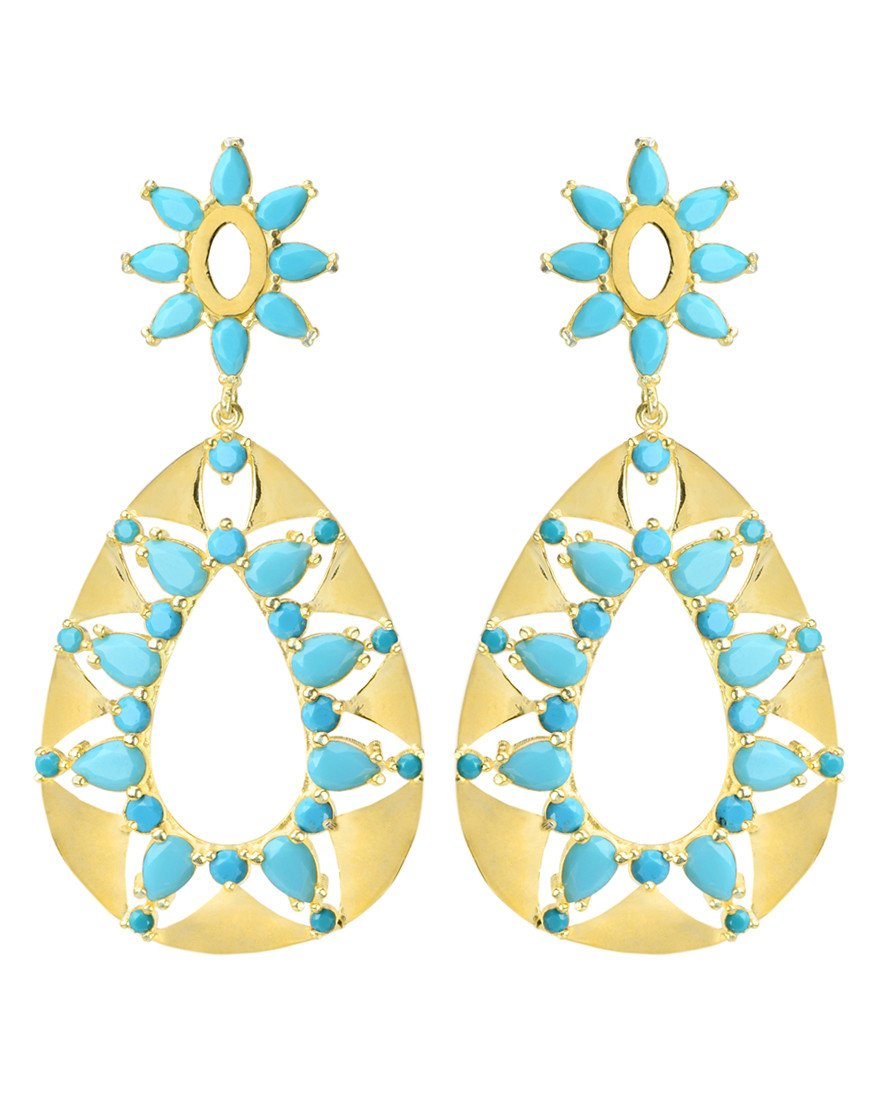 Cool Turquoise Colored CZ Gold Plated Statement Earrings