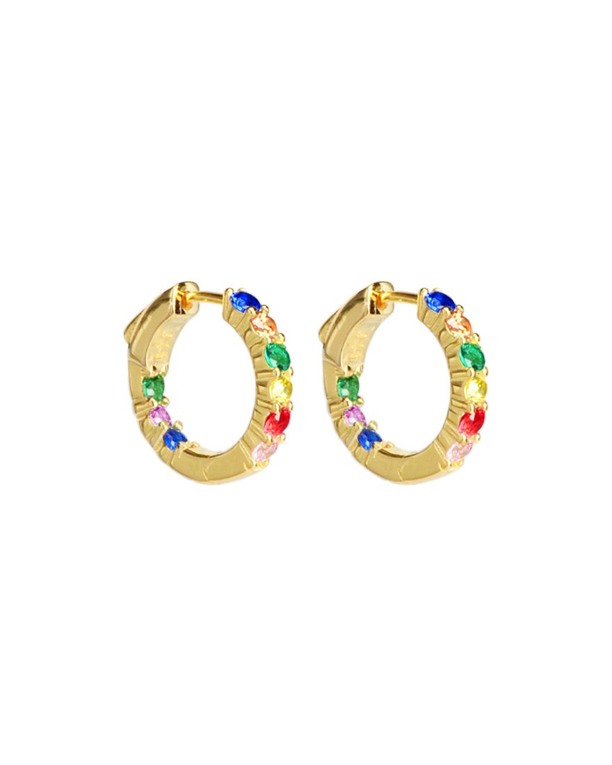 Rainbow Crystal Gold Plated Silver Huggie Hoops