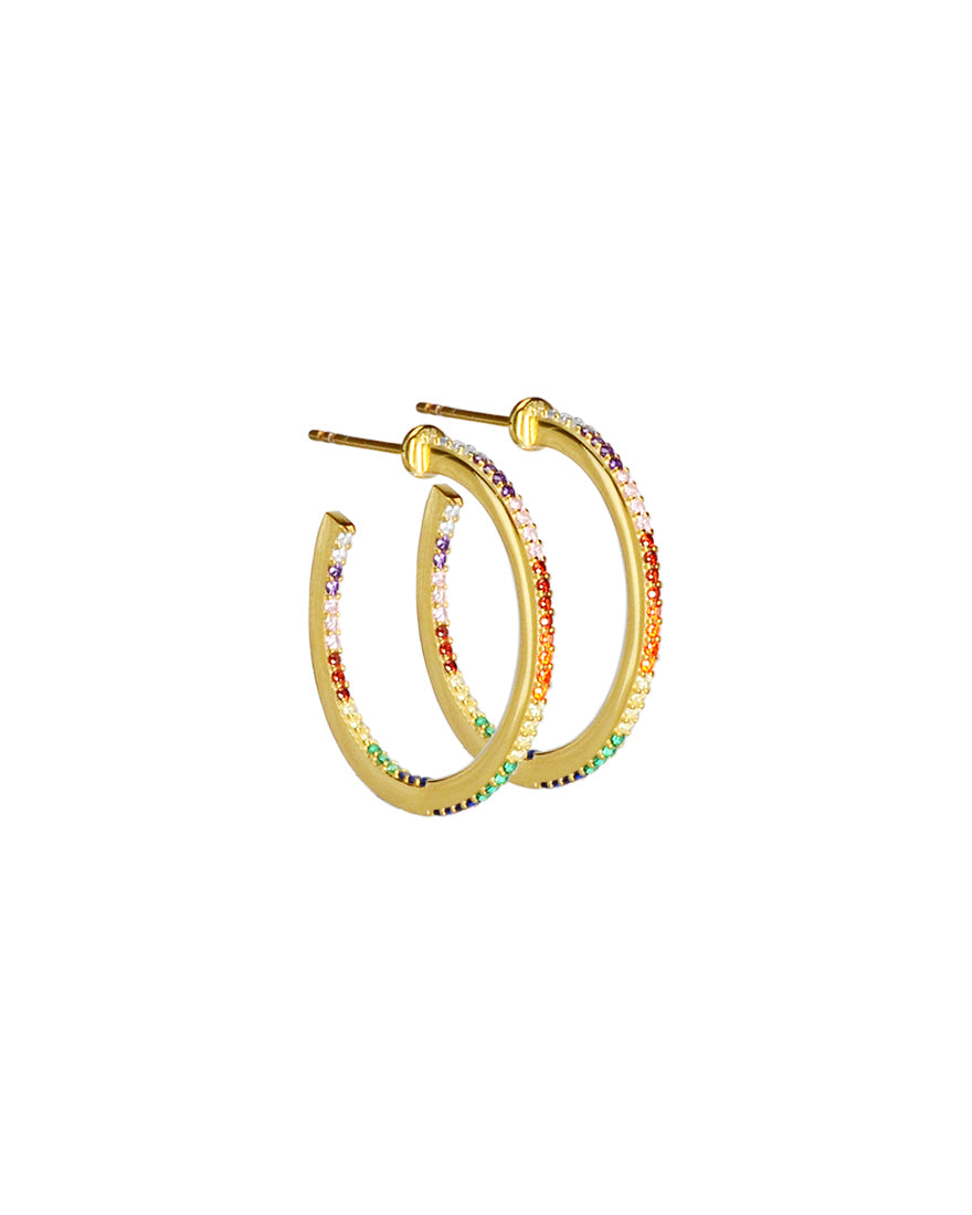 Gorgeous Rainbow Pave Crystal Gold Plated Silver Hoops-medium