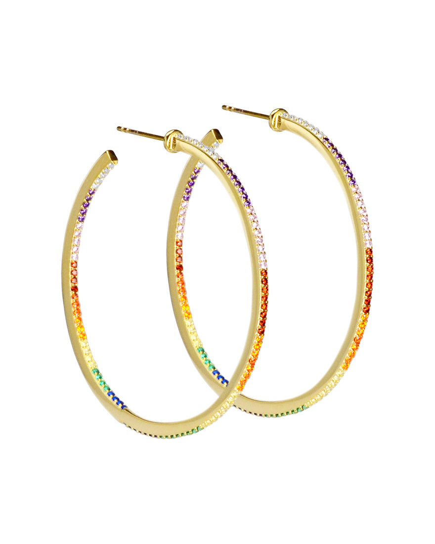 Gorgeous Rainbow Pave Crystal Gold Plated Silver Hoops-Large