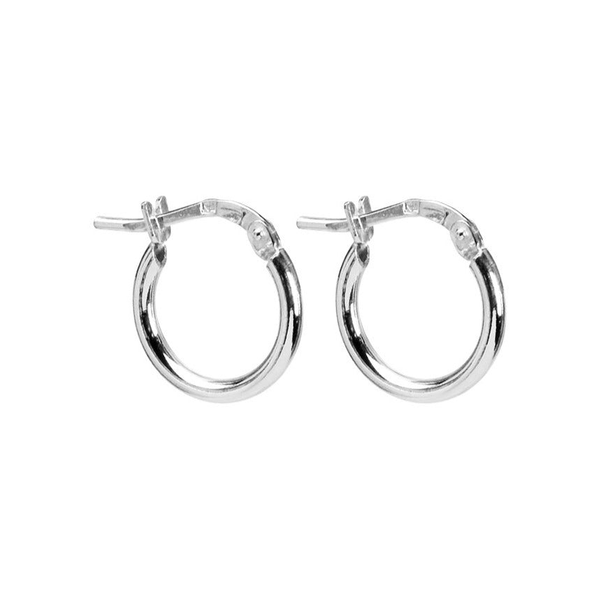 Petite Italian Rhodium Plated Sterling Silver Hoop Earrings