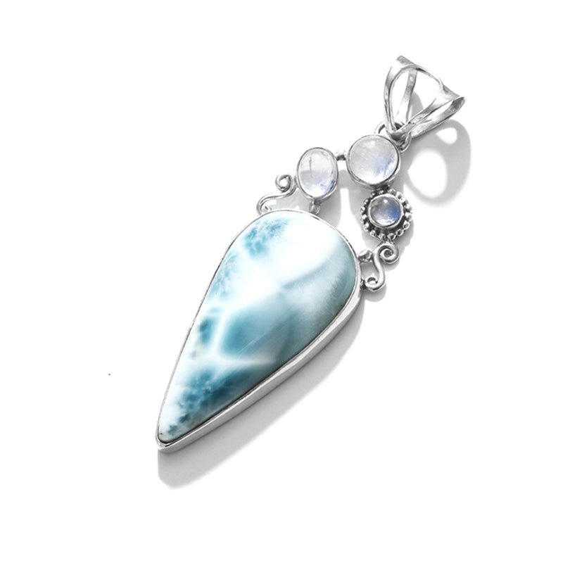 Gorgeous Larimar & Moonstone Sterling Silver Statement Pendant