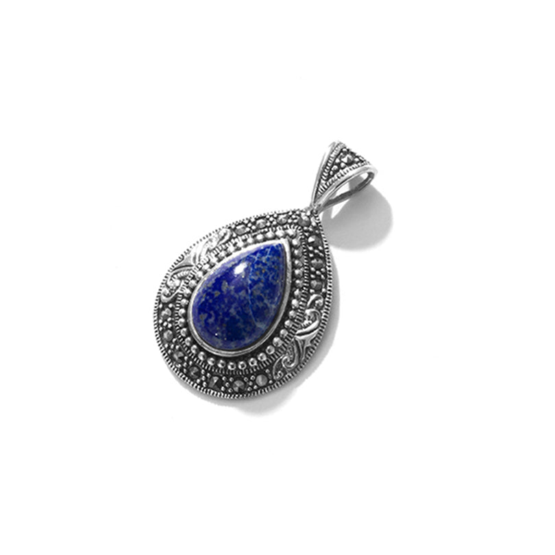 Exotic Lapis and Marcasite Sterling Silver Pendant