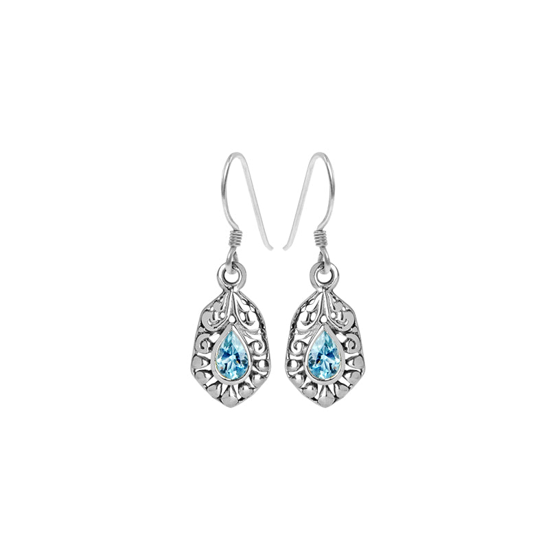Petite Balinese Style Blue Topaz Sterling Silver Earrings
