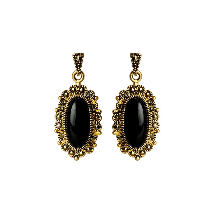 Gorgeous Black Onyx Marcasite 14kt Gold Plated Earrings