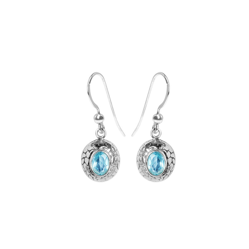 Bali Design Blue Topaz Sterling Silver Earrings