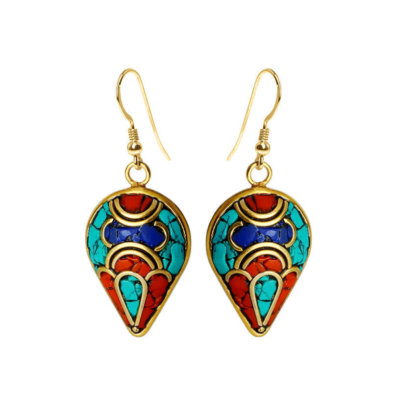 Pretty Himalayan Coral, Lapis and Turquoise Nepal Gold Plated Earrings