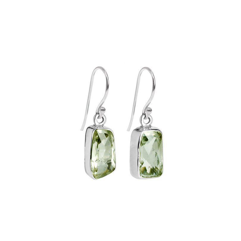 Green Amethyst Irregular Cut Stone Sterling Silver Earrings