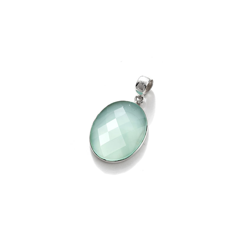 Gorgeous Faceted Ice Blue Chalcedony Sterling Silver Pendant