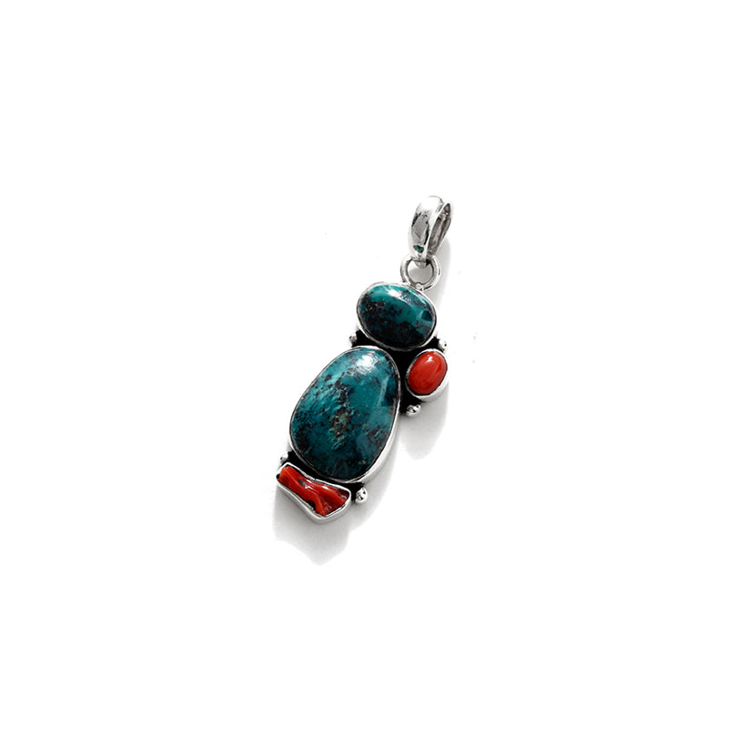 Adorable Turquoise and Coral Sterling Silver Pendant