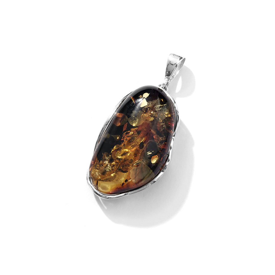 Gorgeous Sparkling Cognac Baltic Amber Sterling Silver Statement Pendant
