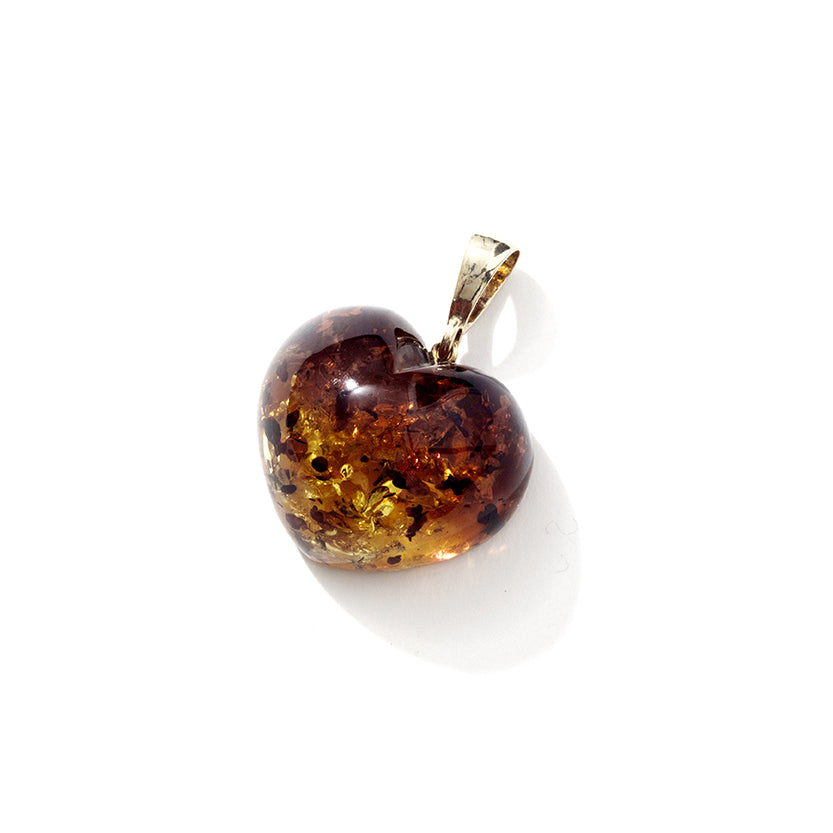 Gorgeous Sparkling Cognac 3-Dimensional Baltic Amber Heart Statement Pendant