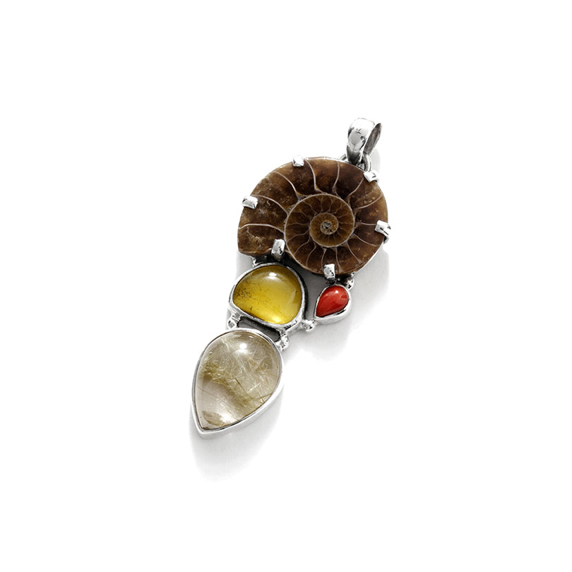 Super Cute Ammonite & Gold Rutilated Quartz Sterling Silver Statement Pendant