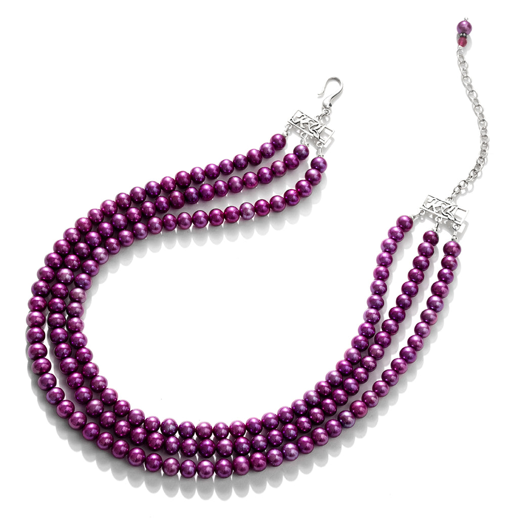 Gorgeous Magenta 3-Strand Pearl Sterling Silver Statement Necklace