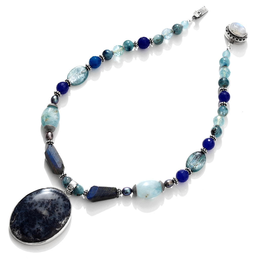 Gorgeous Pietersite, Aquamarine and Mixed Blue Gemstones Sterling Silver Statement Necklace