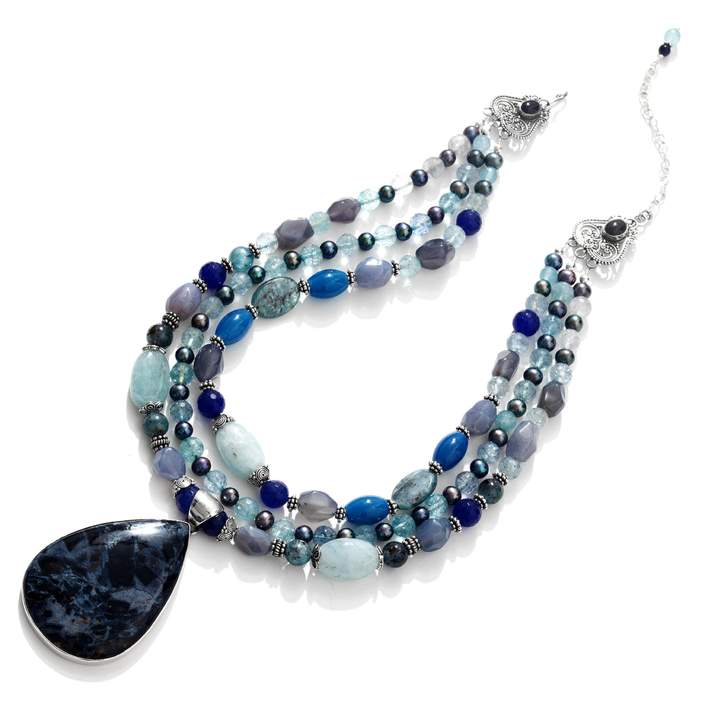 Magnificent Pietersite , Aquamarine and Mixed Blue Gemstones Sterling Silver Statement Necklace